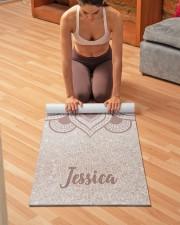 Custom Name Mandala Om Rose Gold Glitter Exercise Yoga Mat 24x70 (vertical) aos-yoga-mat-lifestyle-21