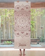 Custom Name Mandala Om Rose Gold Glitter Exercise Yoga Mat 24x70 (vertical) aos-yoga-mat-lifestyle-27