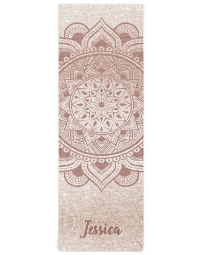 Custom Name Mandala Om Rose Gold Glitter Exercise