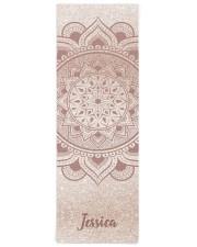 Custom Name Mandala Om Rose Gold Glitter Exercise Yoga Mat 24x70 (vertical) front