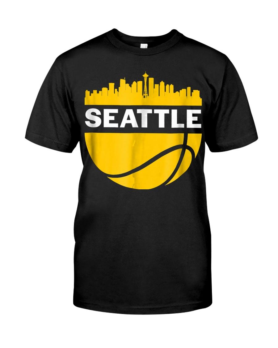 Vintage Seattle Washington Cityscape Bask Classic T-Shirt