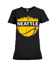 Vintage Seattle Washington Cityscape Bask Premium Fit Ladies Tee thumbnail