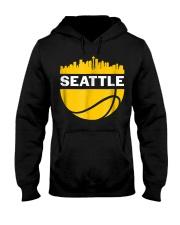 Vintage Seattle Washington Cityscape Bask Hooded Sweatshirt thumbnail