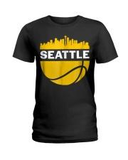 Vintage Seattle Washington Cityscape Bask Ladies T-Shirt thumbnail