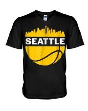 Vintage Seattle Washington Cityscape Bask V-Neck T-Shirt thumbnail
