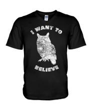 Owl Theory I Want to Believe True Crime Mu V-Neck T-Shirt thumbnail