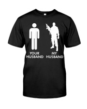 Womens Your Husband vs My Husband Army Wife  Classic T-Shirt front