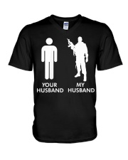 Womens Your Husband vs My Husband Army Wife  V-Neck T-Shirt thumbnail