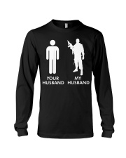 Womens Your Husband vs My Husband Army Wife  Long Sleeve Tee thumbnail