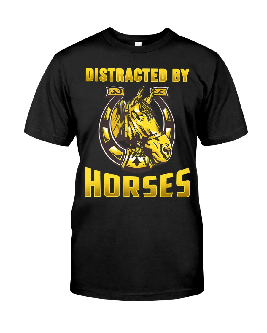 DISTRACTED BY HORSES  Funny Equine Design Classic T-Shirt