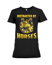 DISTRACTED BY HORSES  Funny Equine Design Premium Fit Ladies Tee thumbnail