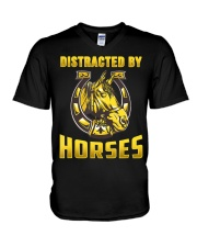 DISTRACTED BY HORSES  Funny Equine Design V-Neck T-Shirt thumbnail