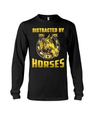 DISTRACTED BY HORSES  Funny Equine Design Long Sleeve Tee thumbnail