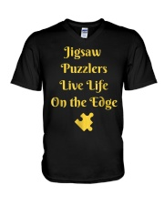 Funny Jigsaw Puzzle Player T-Shirt Live Li V-Neck T-Shirt tile