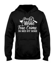 Womens Glass Of Wine True Crime In Bed B Hooded Sweatshirt thumbnail