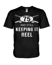 Funny Fishing 75th Birthday Gift Fisher V-Neck T-Shirt thumbnail