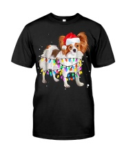 Cute Christmas Lights Papillon Dog Tshi Classic T-Shirt front