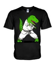 T-Rex Dinosaur Karate Ninja M V-Neck T-Shirt thumbnail