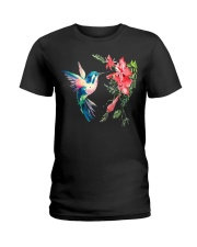 Rainbow Color Hummingbird Fun Ladies T-Shirt thumbnail