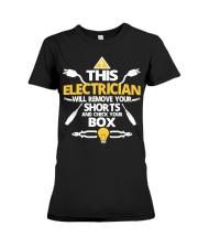 Electrician short job box power shirt Premium Fit Ladies Tee thumbnail