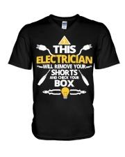 Electrician short job box power shirt V-Neck T-Shirt thumbnail