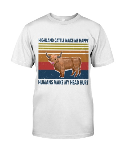 Vintage Make Me Happy - Highland Cattle