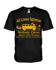 All Lives Splatter Nobody Cares V-Neck T-Shirt thumbnail