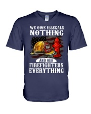We owe illegal nothing our firefighters everything V-Neck T-Shirt thumbnail