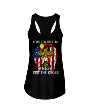 Firefighter Stand for the Flag Kneel for the Cross Ladies Flowy Tank thumbnail