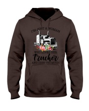 I'm a woman who loves her trucker and cuss much Hooded Sweatshirt thumbnail