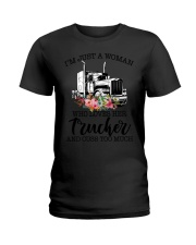 I'm a woman who loves her trucker and cuss much Ladies T-Shirt tile