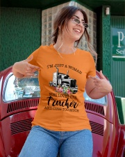 I'm a woman who loves her trucker and cuss much Ladies T-Shirt apparel-ladies-t-shirt-lifestyle-01