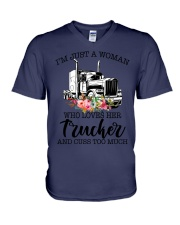 I'm a woman who loves her trucker and cuss much V-Neck T-Shirt thumbnail