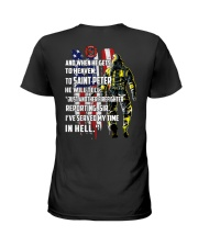 Firefighter shirt And when he gets to  Ladies T-Shirt thumbnail