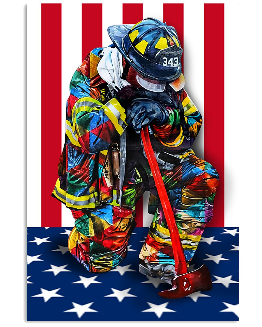 Firefighter shirt Stand for the flag  11x17 Poster