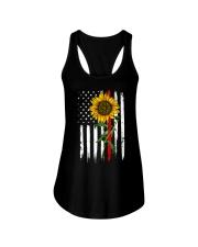 US firefighter Flag Sunflower Ladies Flowy Tank thumbnail