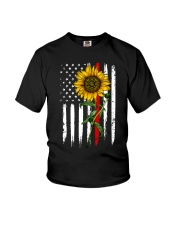 US firefighter Flag Sunflower Youth T-Shirt thumbnail