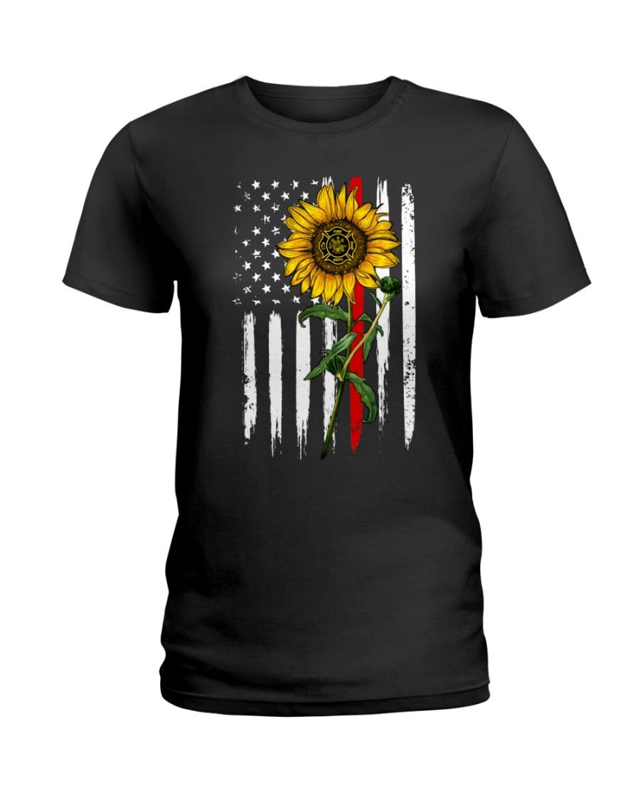 US firefighter Flag Sunflower Ladies T-Shirt