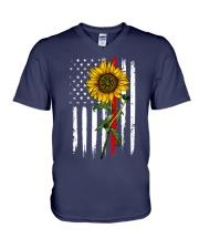 US firefighter Flag Sunflower V-Neck T-Shirt thumbnail