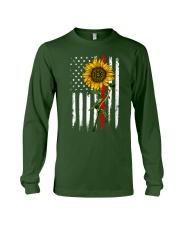 US firefighter Flag Sunflower Long Sleeve Tee thumbnail