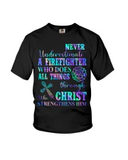 Never Underestimate A Firefighter who  Youth T-Shirt thumbnail