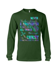 Never Underestimate A Firefighter who  Long Sleeve Tee thumbnail