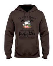 I'm a woman who loves her firefighter and cuss Hooded Sweatshirt thumbnail