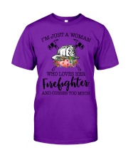 I'm a woman who loves her firefighter and cusses Classic T-Shirt thumbnail