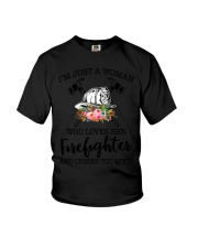 I'm a woman who loves her firefighter and cusses Youth T-Shirt thumbnail