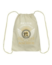 Never Underestimate ASCHER - Name Shirts Drawstring Bag thumbnail