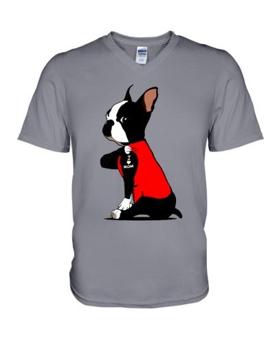 Boston terrier I love mom tattoo shirts