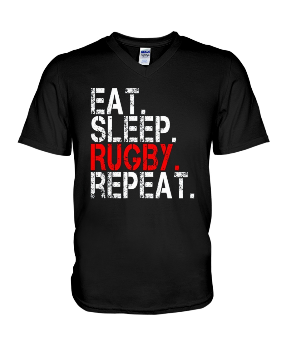 Eat Sleep Rugby Repeat Funny Sport T-Shirt V-Neck T-Shirt