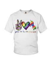 Peace Love Unicorn GLBT Youth T-Shirt tile