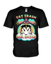 Eat Trash Hail Satan V-Neck T-Shirt tile